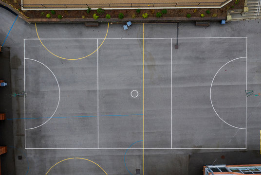 Aerial overhead view of an outdoor netball court