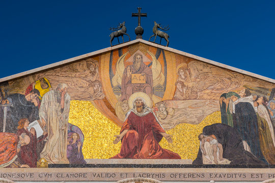 Facade and mosaic at the top of The Church of All Nations or Basilica of the Agony, Jerusalem, Israel.