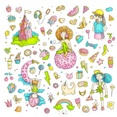 Colored Set of teenage girl icons, cute cartoon teen objects, fun stickers design vector in teenager girls concept. Doodle icon set for teenagers. Colored hand drawn pizza, unicorn, sweets.