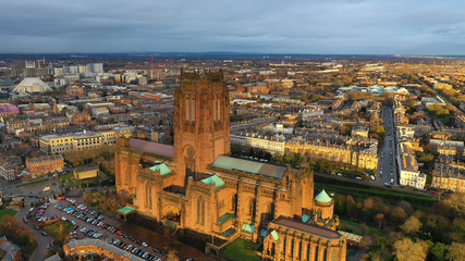 Aerial view of Liverpool cathedral built on St James's Mount