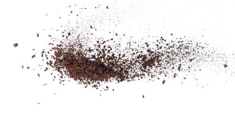 Coffee powder splash or explosion flying in the air