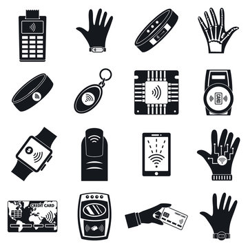 Nfc technology purchase icon set. Simple set of nfc technology purchase vector icons for web design on white background
