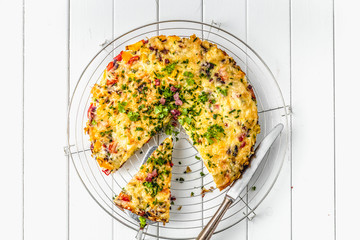 Healthy breakfast food, Stuffed egg omelette with vegetable and bacon