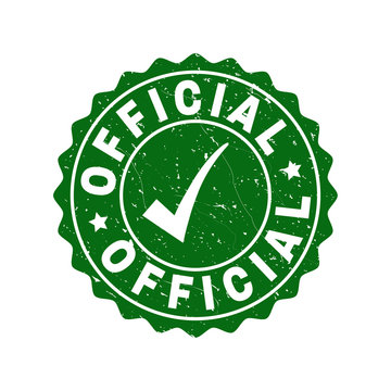 Vector Official grunge stamp seal with tick inside. Green Official label with grunge texture. Round rubber stamp imprint.