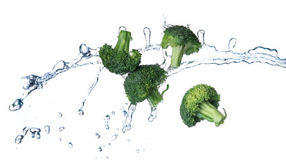 Broccoli with water splash or explosion flying in the air isolated on white background