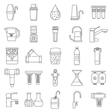 Filter water system icon set. Outline set of filter water system vector icons for web design isolated on white background