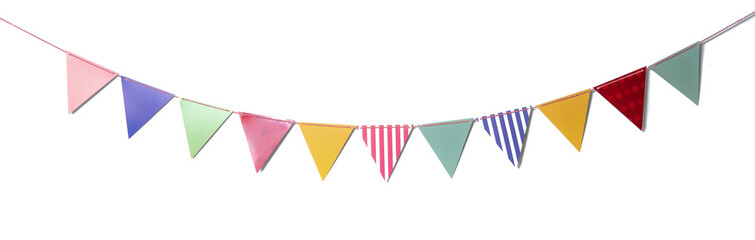 Paper party flags for decoration and covering on white background.