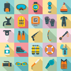 Snorkeling equipment icon set. Flat set of snorkeling equipment vector icons for web design
