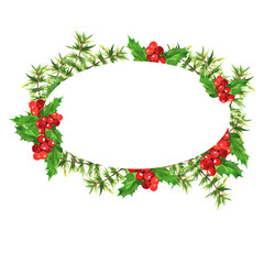 Frame with green pine branches and holly leaves and red berries isolated on white background. Christmas or new year design. Hand drawn watercolor illustration.
