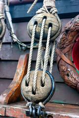 Fragments of rigging sailing ship