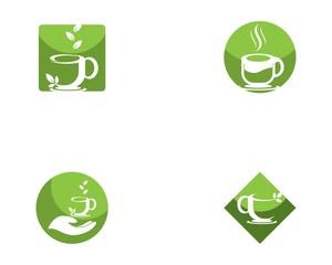 Green tea cup icon logo template