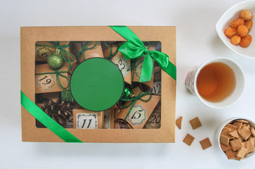 Merry Christmas composition with present box. Advent calendar idea. Place for your text