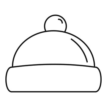 Beanie hat icon. Outline beanie hat vector icon for web design isolated on white background