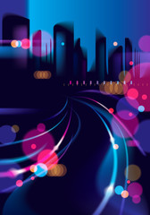 Abstract urban night light bokeh , defocused background. Effect vector beautiful background. Blur colorful dark background with cityscape, buildings silhouettes skyline.