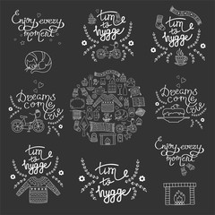 Garden Poster Positive Typography Hygge backgrounds with hand drawn cozy home illustrations
