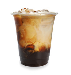Obraz Plastic cup of cold coffee on white background - fototapety do salonu