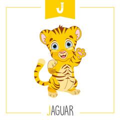 Vector Illustration Of Alphabet Letter J And Jaguar