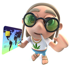 3d Funny cartoon hippy stoner character holding a credit debit card