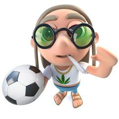 3d Funny cartoon hippy stoner character holding football soccer ball