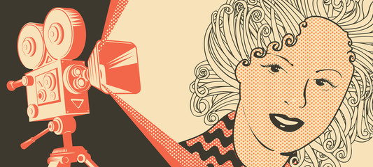 Vector banner on the theme of movie and cinema with old film projector and girl's face in retro style. Can be used for flyer, poster, ticket, web page, background