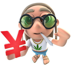 3d Funny cartoon hippy stoner character holding a Yen currency symbol