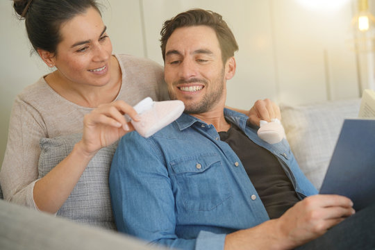 Mother to be surprising her husband with happy news