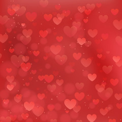 Abstract vector background for Valentines Day with red hearts.