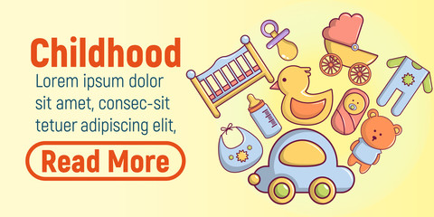 Childhood concept banner. Cartoon banner of childhood vector concept for web, giftcard and postcard