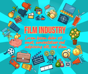 Film industry concept banner. Cartoon banner of film industry vector concept for web, giftcard and postcard