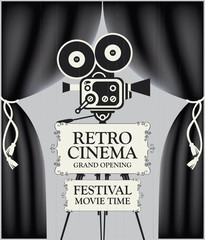 Vector poster for retro cinema movie festival with black Curtains and old fashioned movie camera on the tripod in vintage style. Can be used for banner, poster, web page, background. Grand opening