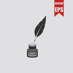 Ink and feather icon.Vector illustration.