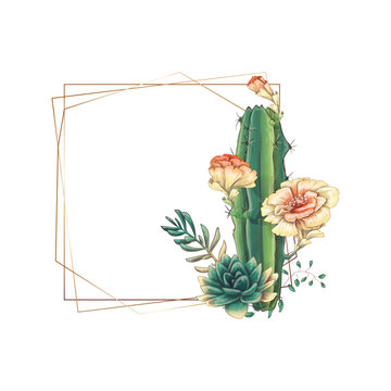 Wedding colorfiull frame with succulent and cacti. Vector.