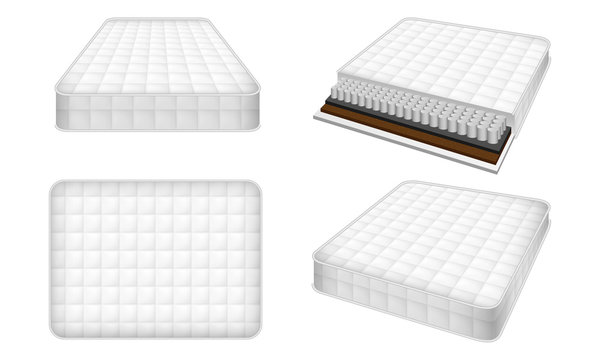 Mattress icon set. Realistic set of mattress vector icons for web design