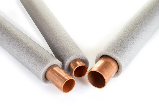 Insulation for heating pipes on a white background