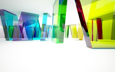 abstract architectural interior with geometric glass sculpture and  white lines. 3D illustration and rendering