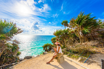 Paradise Scenery of Tulum at tropical coast and beach. Mayan ruins of Tulum, Quintana Roo, Mexico. Wall mural