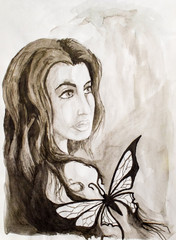 Portrait of a brunette from the Caucasus with a butterfly on his shoulder. Drawing watercolor