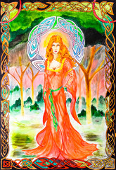 Woman in a translucent red dress in the forest. Picture in frame, watercolor paint.