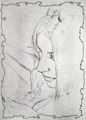 Unfinished portrait in pencil.