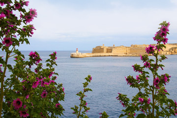 View from Valletta to Fort Rinella