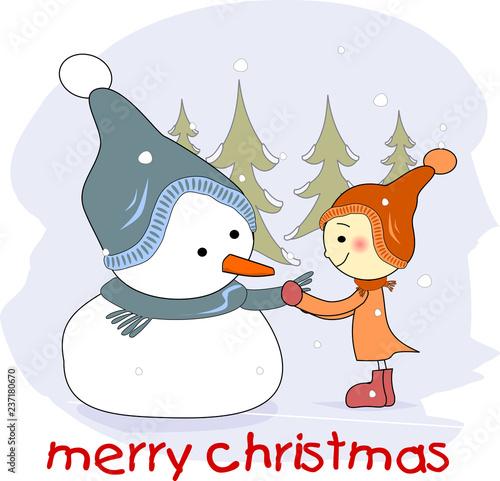 Frohe Weihnachten Englisch.Schneemann Und Mädchen Frohe Weihnachten Englisch Stock Image