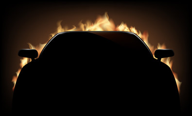 Silhouette of car with flame and fire on dark background.