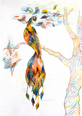 Heat Bird on a tree branch. Drawing with colored pencils.