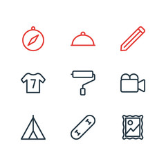 Vector illustration of 9 lifestyle icons line style. Editable set of pencil, wall painter, video cam and other icon elements.