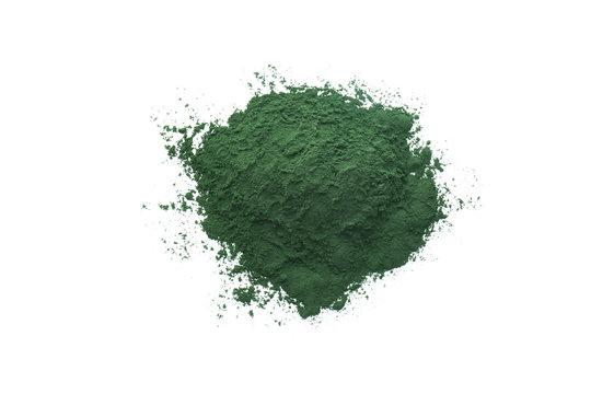 Healthy spirulina powder on white background