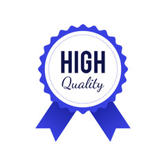 High quality badge in blue color isolated on white background