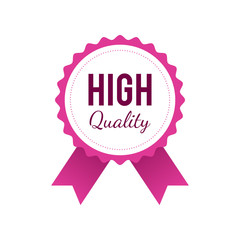 High quality badge in pink color isolated on white background
