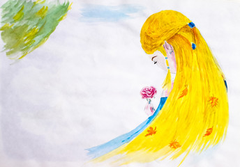 A girl with long blond hair admires a rose flower. Autumn in the hair, leaves of leaf fall. Drawing watercolor.
