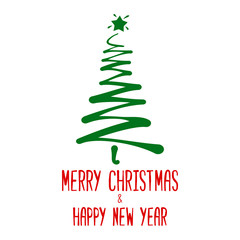 Abstract Christmas tree with wishes Merry Christmas and Happy New Year. Isolated on white background. Vector illustration.