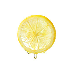 Essential oil dripping from lemon slice on white background